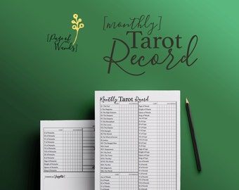 Printable Monthly Record of Tarot Cards -- Planner Page -- Tarot Spreads