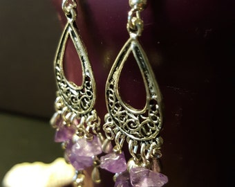 Earrings Retro Style Purple Amethyst - gems - ethnic - Bohemian - silver - romantic - healing - Valentine's day