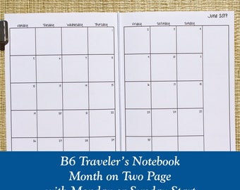 B6 Size Month on Two Page Traveler's Notebook Insert - Choose Dated or Undated