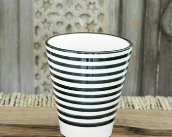 Set of two Moroccan Coffee Cups - Black and white 'Striped'