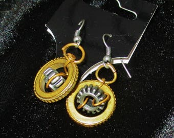 Unique Silver and Gold colored Gear Hook Earrings
