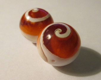 Handcrafted Glass Ball Focal Beads with Curled Wave Motif, 17mm, Set of 2