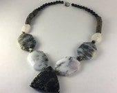 Protective Dentritic Sage Opal & Pyrite Necklace /  One-of-a-Kind / Feng Shui Jewelry / Statement Necklace / Vibrational Healing / Handmade