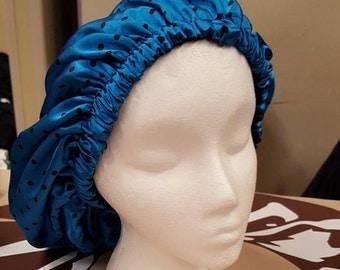 Blue and Black Polka Dot Charmeuse Satin Bonnet