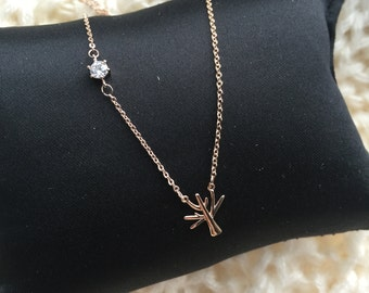 Rose Gold Necklace Small Tree with little zircon diamond look round stone, super cute necklace, gift for her