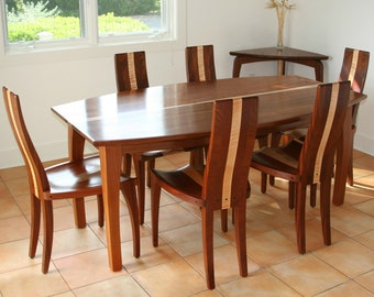 "Dining Table, Oval Dining Table, Solid Wood Dining Table, Mahogany, Boat Shape Top, ""Beetleback"""