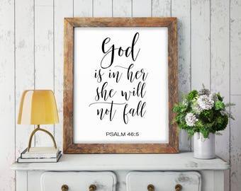 God Is In Her She Will Not Fall, Psalm 46:5, Nursery Bible Verse Print, Nursery Christian Decor, Scripture Print, Christian Nursery