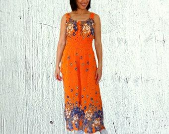Sleeveless sundress maxi floral orange floral sun dress high waisted long cotton hippie maxi dress US size 8 - 10 Medium Vintage 1990s