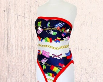 Womens one-piece suimsuit size 8 high cut leg high thigh strapless monokini swimware bading suit French size 38 US 8 vintage 1980 deadstock