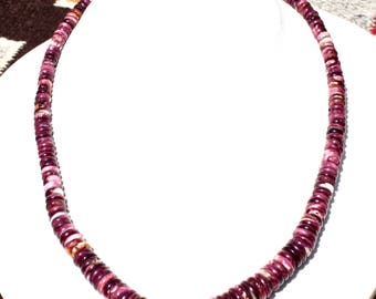 Santo Domingo Ava Cortiz Spiny Oyster Graduated Disc Bead Necklace 16 Inch