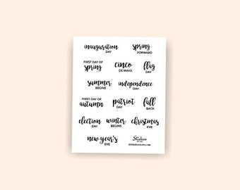 Yearly Holiday Planner Stickers / Holiday Stickers / Planner Stickers / Word Stickers / Calligraphy Stickers