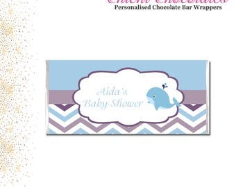 Blue and Purple Chevron, Printable Chocolate Bar Wrappers. Digital Download.