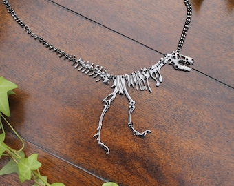 Tyrannosaurus Rex Necklace, Dinosaur Necklace, T Rex Necklace, Fossil, Unique Necklace, Hematite, Jurassic Park, Jurassic World