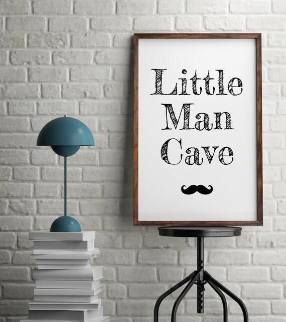 Little Man Cave Wall Art : On sale little man cave minimalist moustache typography