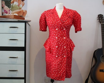 Vintage 1980's Milanzo (Made In U.S.A) Red and White Polka Dot Peplum Dress (Size 8 (UK))