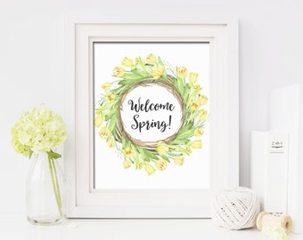 Welcome Spring Printable Wall Art Yellow Tulips Wreath Print Happy Spring Flowers Print Watercolor Flowers Welcome Spring Decor Printable