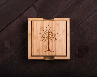 Lords of The Rings Wooden Coasters, Batman Fan, Wood Burned, Custom Bamboo Wedding gift for Couple, Corporate Gift Kitchen Decor #5041
