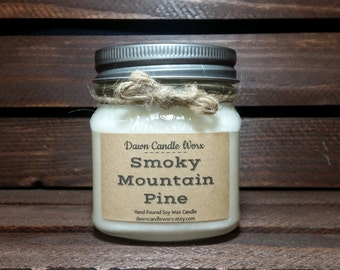 8oz Smoky Mountain Pine Scented Candle - Soy Candles Handmade - Great Smoky Mountains - Mason Jar Candles - Scented Candles - Rustic Decor