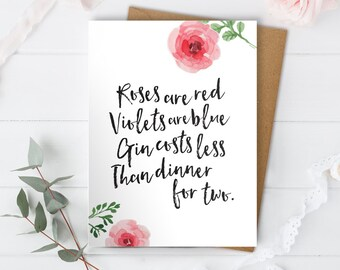 Funny Anniversary Card, Anniversary Card, Love Card, Funny Love Card, Just Because Card, Girlfriend Card, Boyfriend Card, Gin Card, Roses