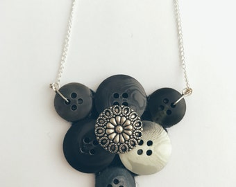 Recycled Button Vintage Style Black Gray White Silver Necklace