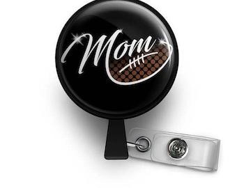 Football Mom ID Retractable Badge Reel