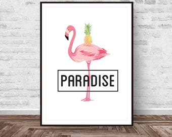 Flamingo Print, Flamingo Art, Tropical Print, Bird Printable, Animal Decor, Pink, Art Modern, Wall Art, Instant Download, Printable Art