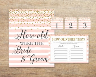 How Old Were They Game, Guess Bride and Groom Age, Printable Bridal Shower Game, Photo Game, Blush Pink Gold Wedding, PG Instant Download