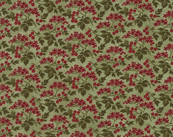 BTHY - Winterlude by 3 Sisters for Moda Fabrics, #44044-13 Mistletoe Berry Blossoms, Red Berries & Green Leaves on Sage Green, HALF YARD