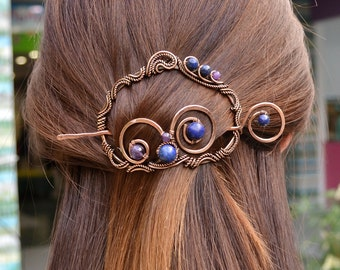 Lapis Lazuli and Amethyst Hair Barrette, Hair Slide Copper, Hair pin, Brooch, Brooch Pin, Hair Accessories, French Barrette, Amethyst Brooch