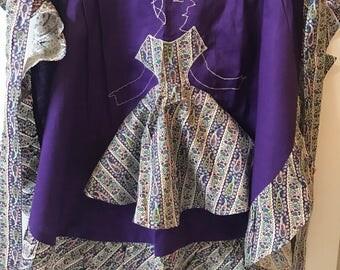 Vintage Midcentury Apron Purple Peekaboo Lady Funny Silly