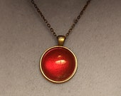 Secret of NIMH Inspired Bright Red Sparkly Amulet Pendant Necklace