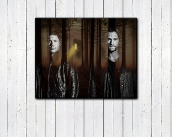 """Winchester Brothers, Supernatural 11x14"""" Print, Dean & Sam Winchester, Black and White, Double Exposure, Forest Print, The Family Business"""