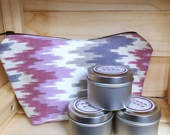 Soy Candle Essential Oil Three Tin Container Candle Gift Set with Zipper Pouch Handmade