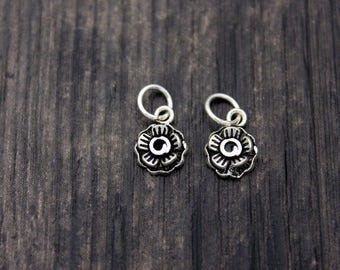 2 Sterling Silver Flower Charm Pendant