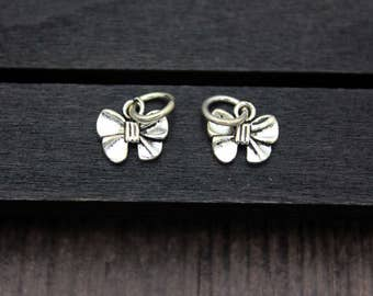 1PC Sterling silver Bow charm, sterling silver bow tie charm,Bowknot Charms, Butterfly Tie,Sterling Silver Bow Pendant