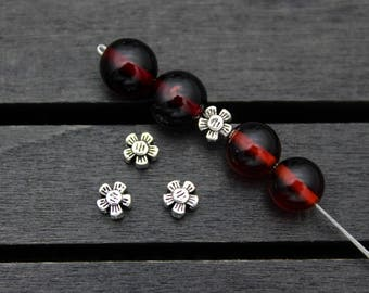 10 Sterling Silver flower beads,5x3mm silver flower spacer bead,sterling silver bead, silver spacer bead
