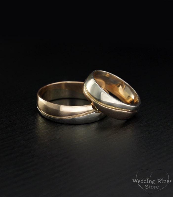 wave eheringe zwei ton gold trauringe welle passende. Black Bedroom Furniture Sets. Home Design Ideas