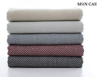 Herringbone Bath Towel | Throw Blanket | Sofa Throw | Turkish Towel | Bath Towel | Wedding Gift | Turkish Bath Towel | Mon Castle