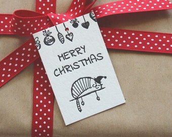 SALE to make way for new stock: 10 x Black Letterpress Merry Christmas Cat Gift Tags