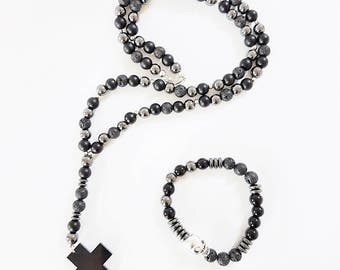 Mens necklace, Black necklace, Cross necklace, Rosary necklace, Lava necklace, Onyx necklace, Hematite necklace, Mens gift, Father gift