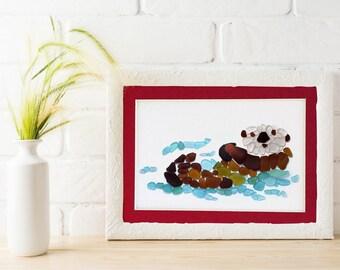 "Sea Glass Sea Otter Matted Print - 5x7"" mat with 4x6"" seaglass mosaic otter print"