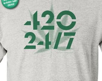 420-24/7 Marijuana Celebration - 100% Cotton Short Sleeve T-Shirt with FREE Buttons