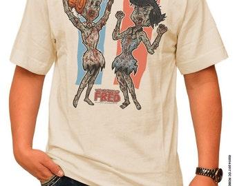 WILMA & BETTY ZOMBIES - The Walking Fred! pre shrunk 100% cotton, short sleeve t-shirt - The Walking Dead/The Flintstones Parody