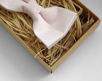 Dusty peach bow tie, linen bow tie, pocket square, mens bow tie, bow tie, bow ties for men, bow tie men, vintage bow tiee