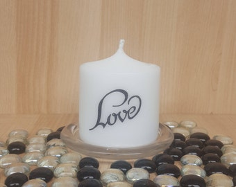 """Scented """"Love"""" Pillar Candle/say it all with a single gift"""