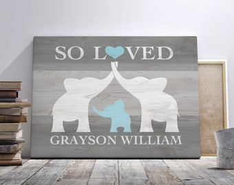 Elephant Nursery Art, Canvas Wall Art, Elephant Baby Shower Gift, Nursery Name Sign, Kid Room Decor Personalized Nursery Animal CANVAS Print