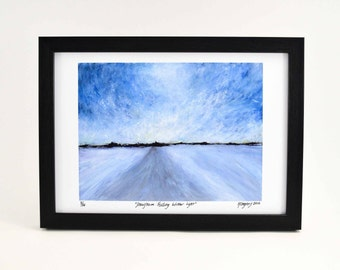 Snowstorm Art Print - Winter Wonderland - Snowflake Art Print - Abstract Landscape Print - Snowstorm Painting - Landscape Art - Winter Art