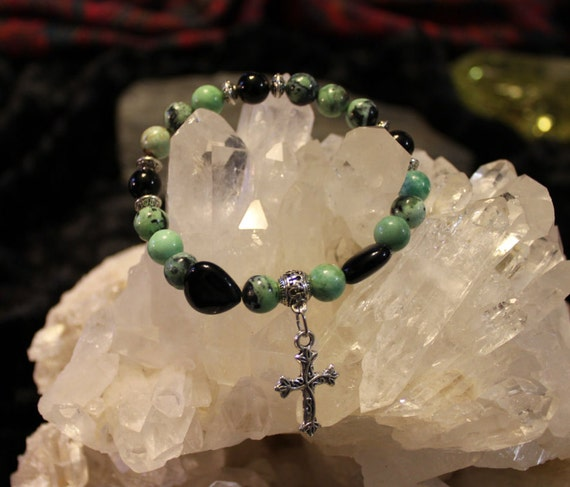 Happiness and Joy in a Green Chrysoprase Charm Bracelet