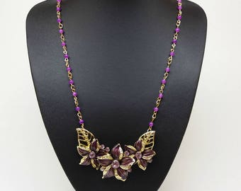 Gold and purple flower leaves bib statement chunky crystal long pendant necklace collar neckpiece, Spring summer necklace, Gift for woman
