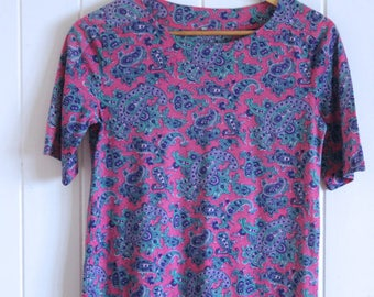 Paisley top, retro, pink and blue